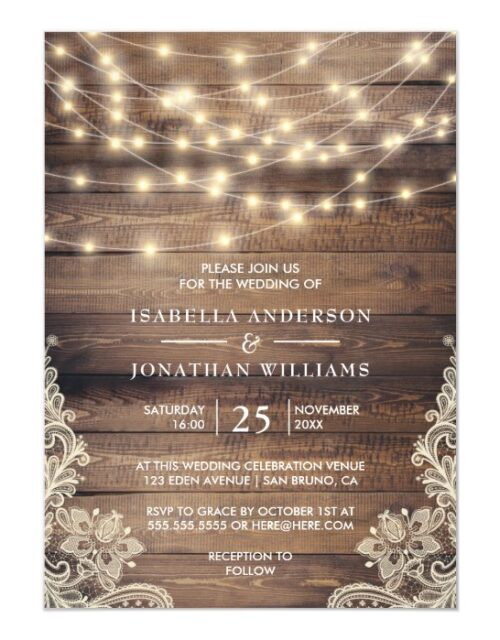 Rustic Wood & String Lights   Vintage Lace Wedding Magnetic Invitation