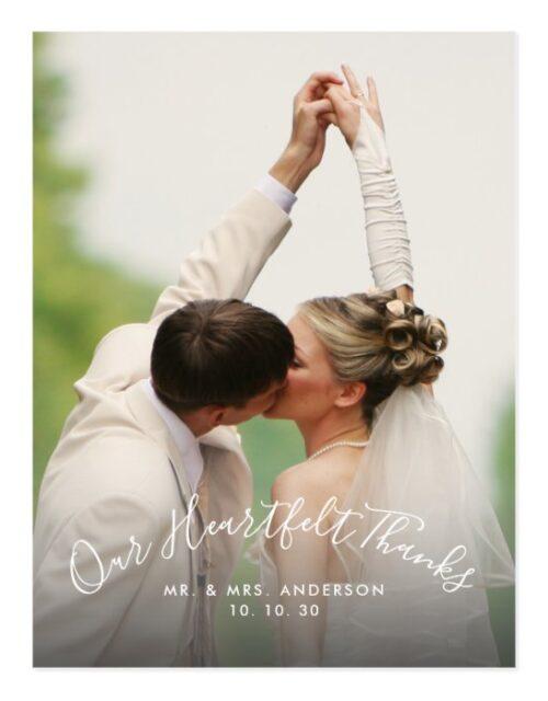 Script Heartfelt Thanks 2 Photo Wedding Thank You Postcard