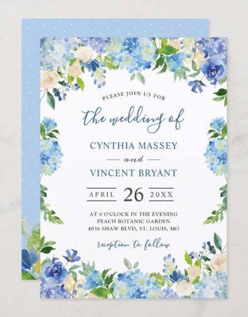 Shades of Blue Hydrangeas Pastel Floral Wedding Invitation