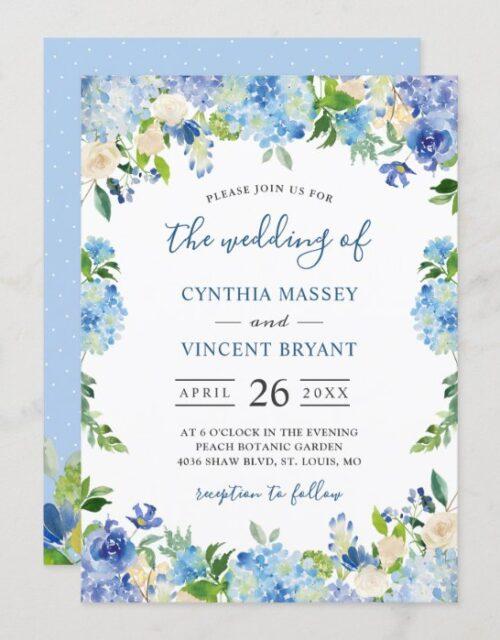 Shades of Blue Hydrangeas Pastel Floral Wedding Invitation