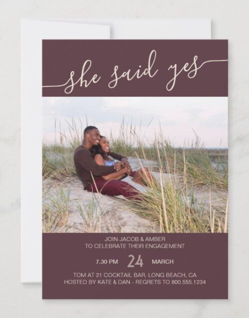 She Said Yes Script Rose Brown Photo Engagement Invitation