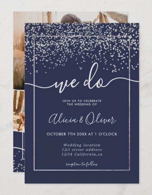 Silver foil navy blue photo initials wedding invitation