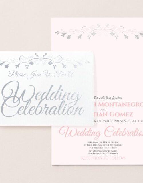 Silver Foil Pink & Gray Elegant Wedding Invitation