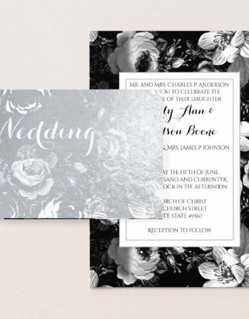 Silver Foil Rose Typography Wedding Invitations