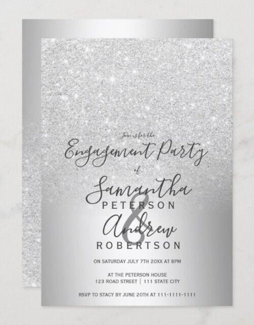 Silver glitter ombre metallic foil engagement invitation