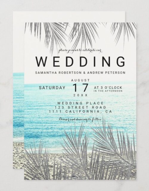 Silver palm tree elegant beach photo wedding invitation