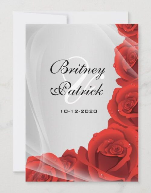 Silver & Red Rose Wedding Invitations