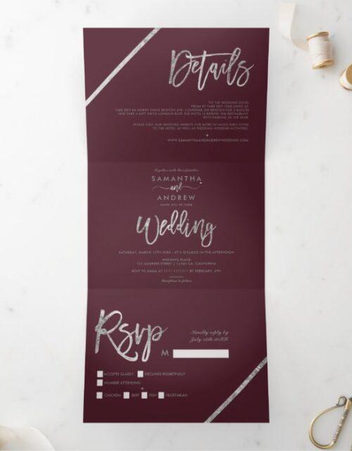 Silver stripes red burgundy elegant script wedding Tri-Fold invitation