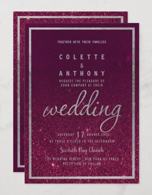 Silver typography burgundy ombre glitter Wedding Invitation