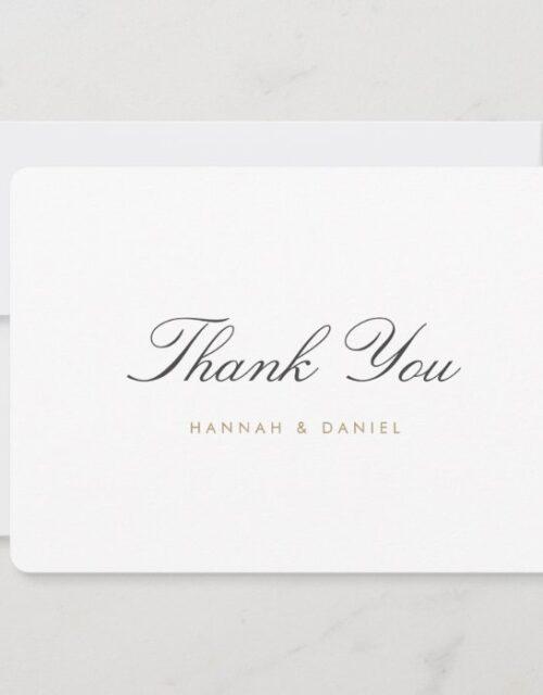 Simple Classic Elegant Script Gold Wedding Thank You Card