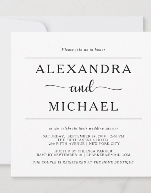 Simple Elegance | Black and White Couples Shower Invitation