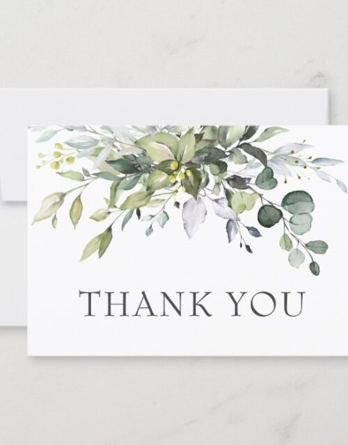 Simple Elegant Eucalyptus Watercolor Greenery Thank You Card
