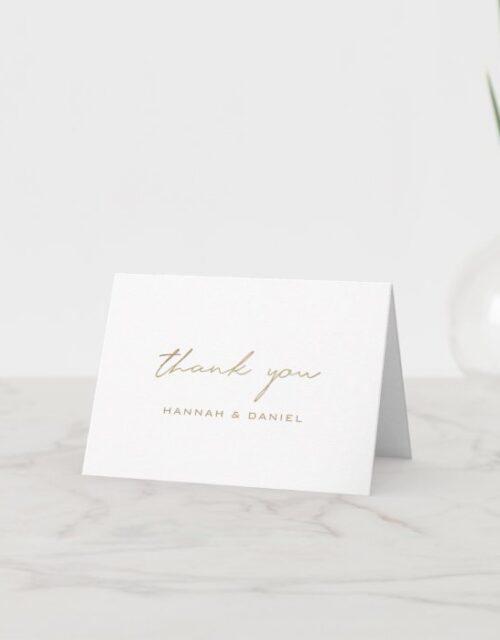 Simple Elegant Gold Modern Script Wedding Thank You Card