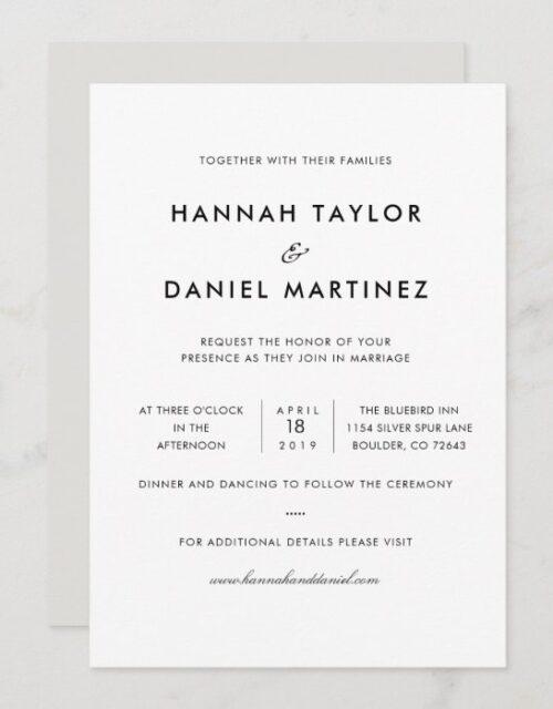 Simple Elegant Modern Custom Wedding Invitation