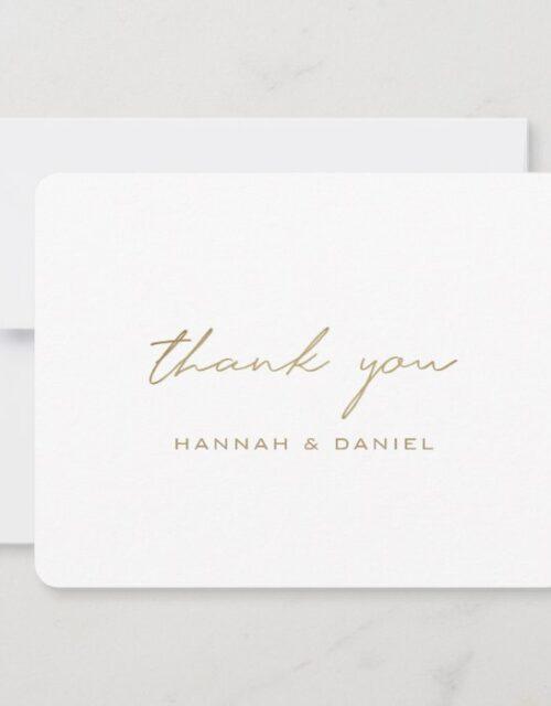 Simple Elegant Modern Script Gold White Wedding Thank You Card