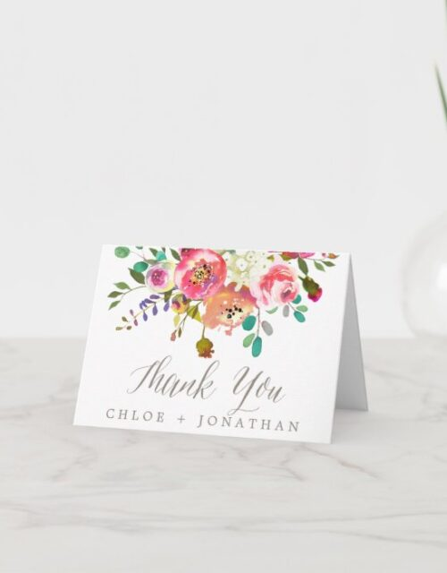 Simple Floral Watercolor Bouquet Thank You Card