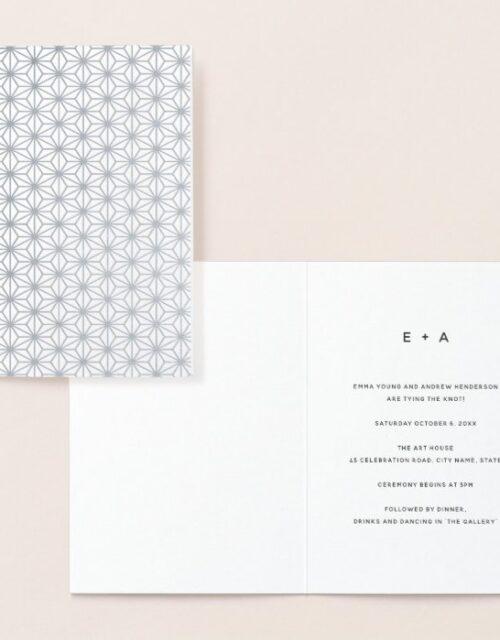 Simple Geometric Pattern Silver Wedding Invitation