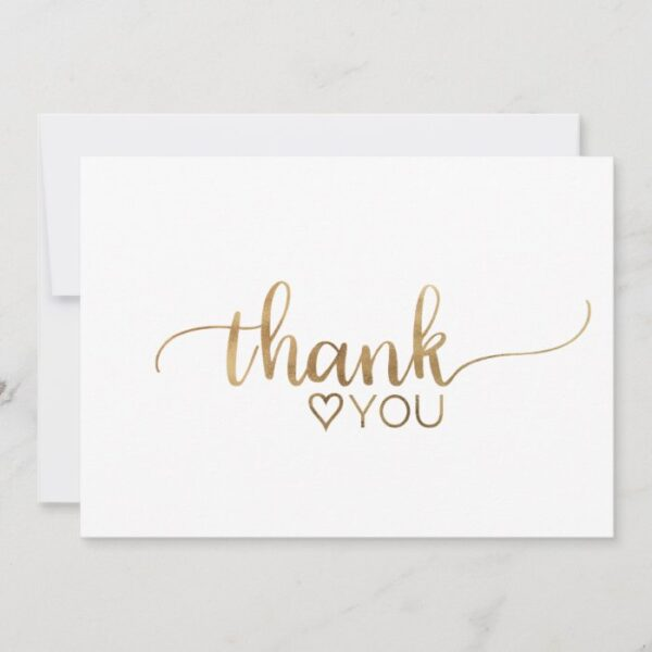 Simple Gold Calligraphy Thank You Card