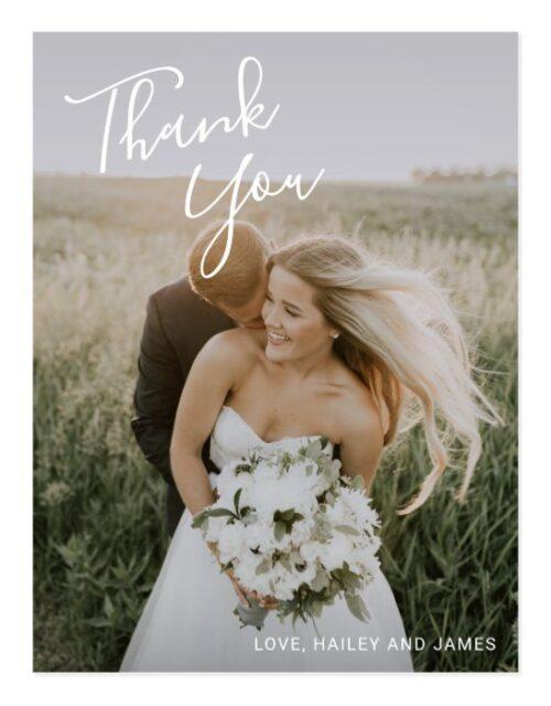 Simple Handwritten Script Wedding Photo Thank You Postcard