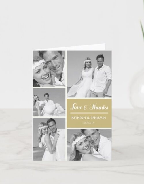 Simple Love & Thanks 5 Multi Photo Modern Wedding Thank You Card
