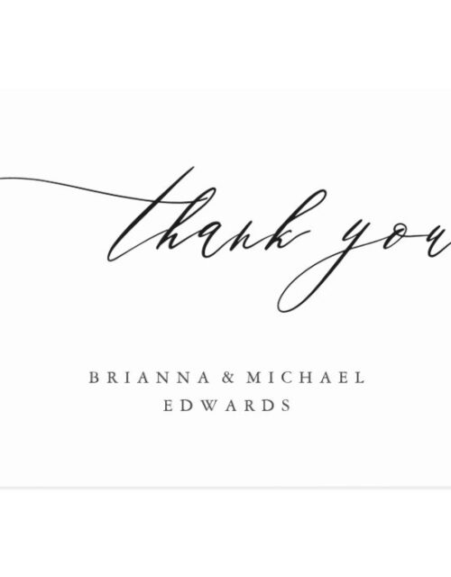 Simple Modern Calligraphy Wedding Thank You Postcard