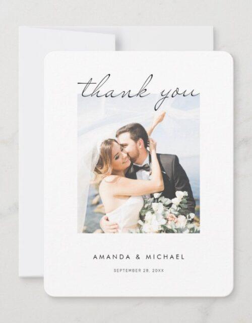 Simple Modern Elegant Script Photo Wedding Thank You Card