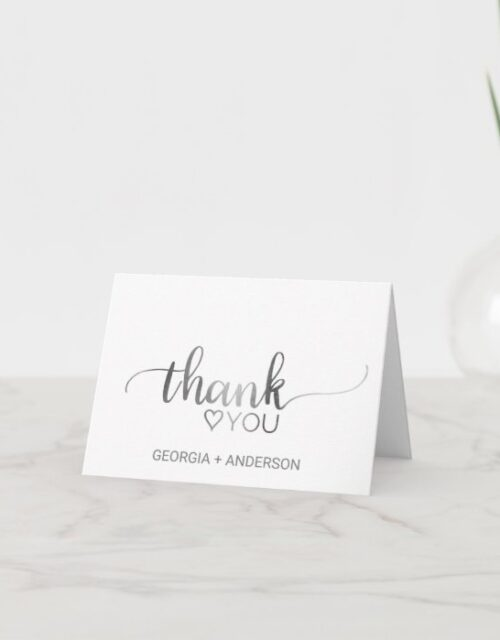Simple Silver Foil Calligraphy Thank You Card