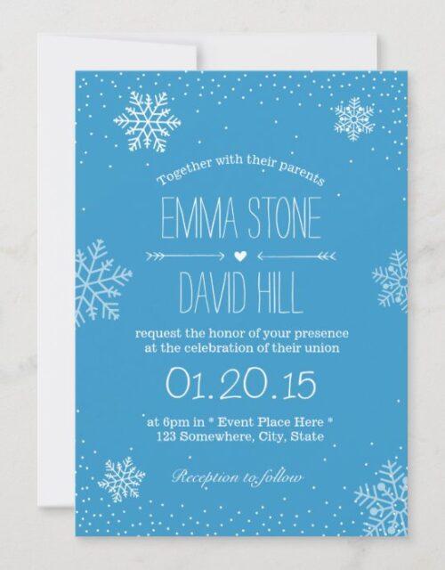 Simple Snowflakes & Snow Winter Wedding Invitation