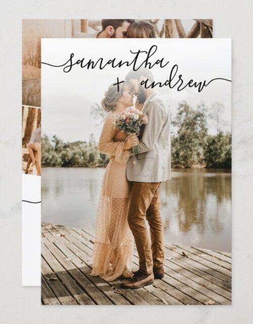 Simple white minimalist font 5 photos wedding invitation