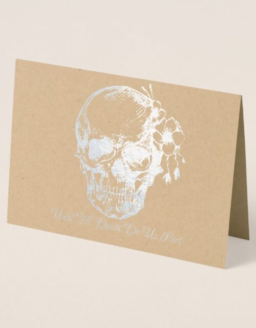 Skull with flowers Silver Foil Wedding Invitations