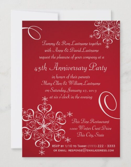 Snowflake Anniversary Party Red Invitation