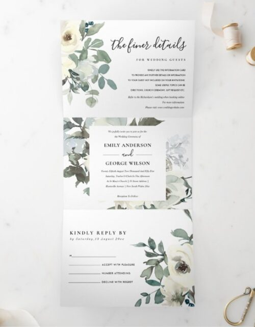 SOFT IVORY WHITE FLORAL WATERCOLOR BUNCH WEDDING Tri-Fold INVITATION