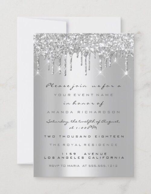 Spark Glitter Drips Silver Gray  Bridal Sweet 16th Invitation