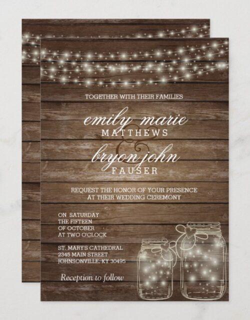 Star Light Mason Jar on Rustic Wood Wedding Invitation