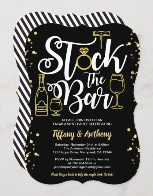 Stock the bar invitation engagement party gold