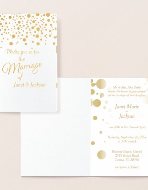 Stylish Gold Confetti Dots | White Background Foil Card