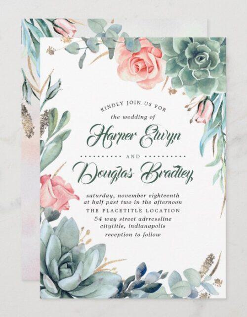 Succulent Greenery Pink Floral Modern Wedding Invitation