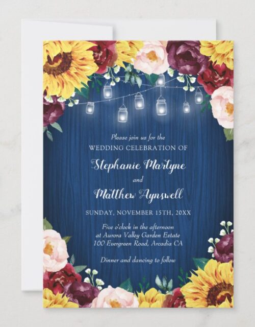 Sunflower Navy Mason Jars Floral Wedding Invitation