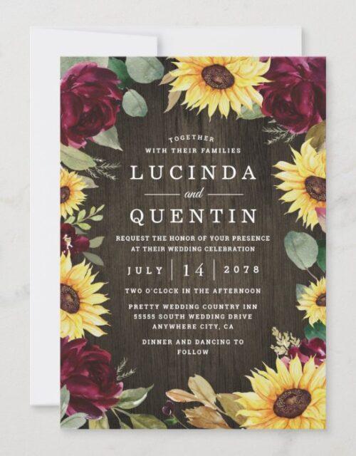 Sunflower Themed and Burgundy Red Rose Wedding Invitation