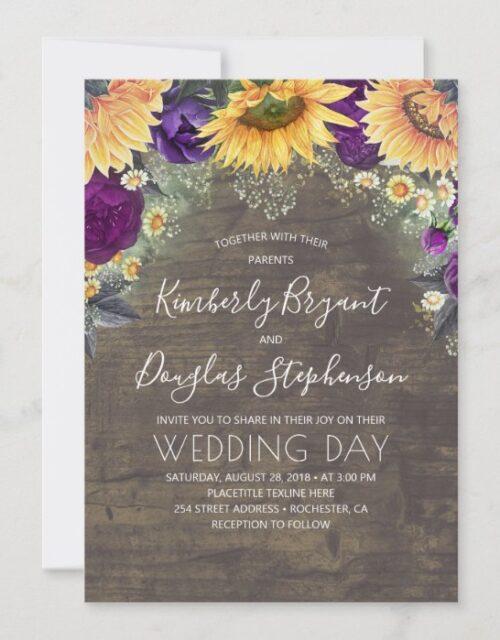 Sunflowers Purple Roses Daisies Rustic Wedding Invitation