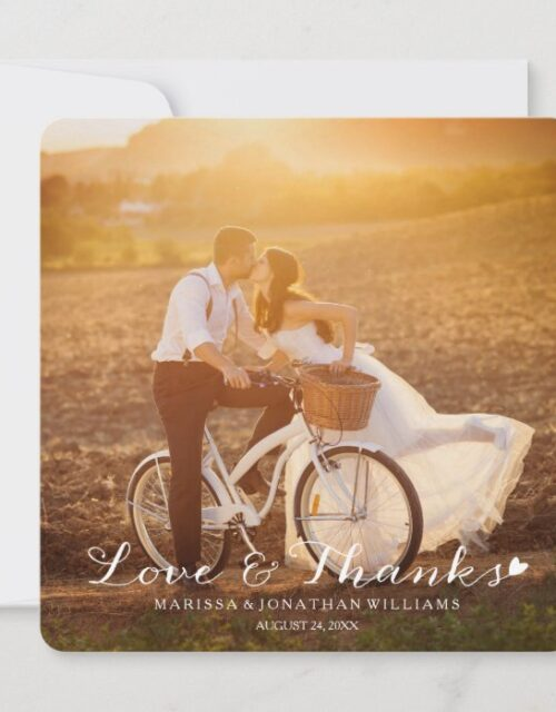 Sweet Little Heart Wedding Thank You Flat Card