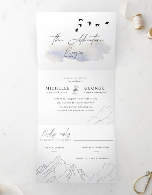 the adventure begins elegant wedding Tri-Fold invitation