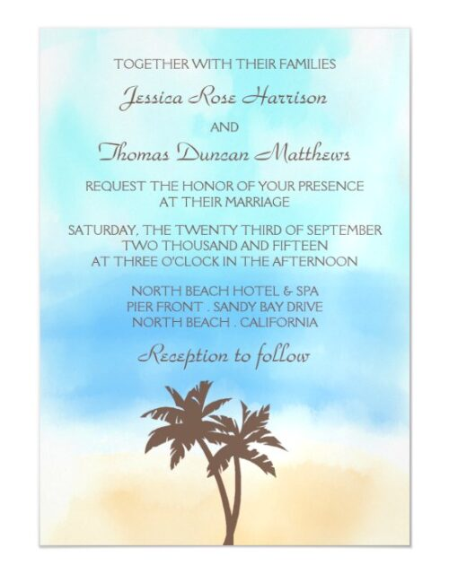 The Watercolor Beach Wedding Collection Magnetic Invitation