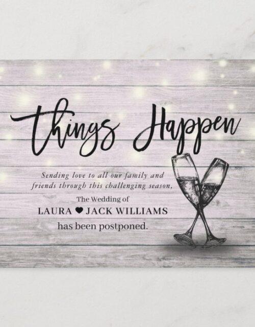 Things Happen Wedding Postponement Change of Plans Announcement Postcard