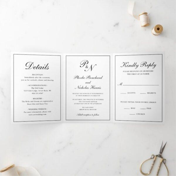 Traditional Black White Monogram Formal Wedding Tri-Fold Invitation