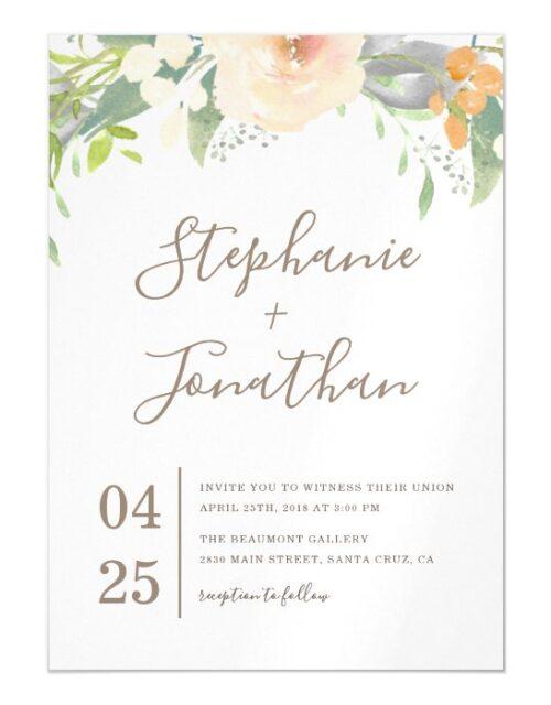 Trendy Spring Watercolor Flowers Wedding Magnetic Invitation