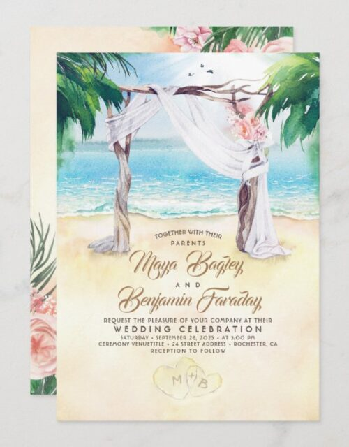 Tropical Beach Arbor Dreamy Summer Wedding Invitation