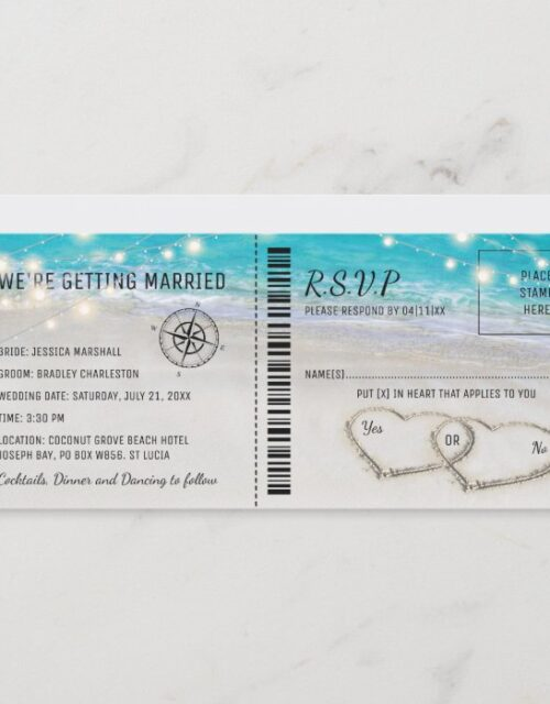 Tropical Beach Heart Wedding Ticket with RSVP Invitation