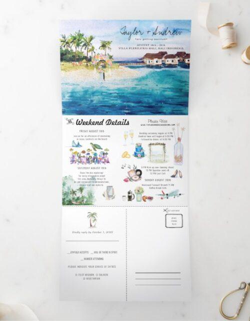 Tropical Beach Wedding | Tri-Fold Invitation