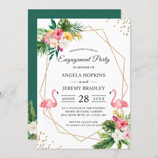 Tropical Floral Leaves Flamingo Engagement Party Invitation